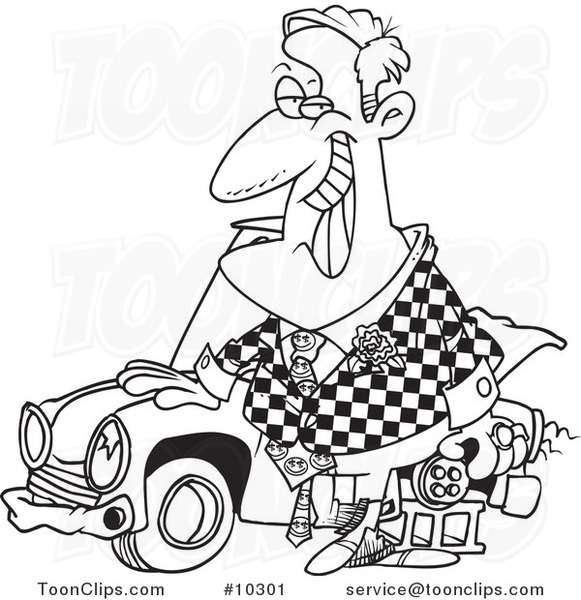 581x600 Cartoon Black And White Line Drawing Of A Shifty Car Salesman