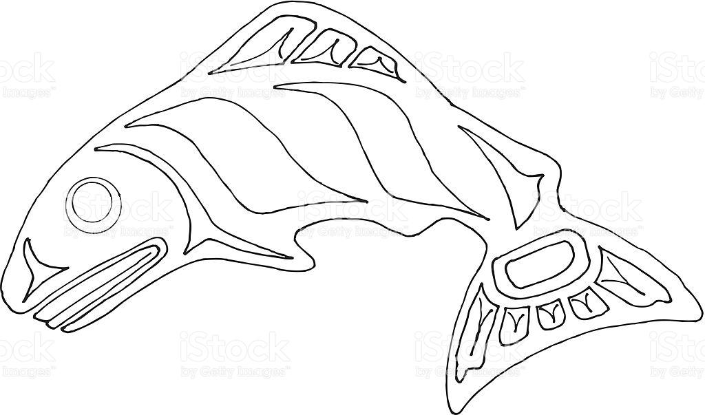 1024x603 Pacific Northwest Coast Native Indian Salmon. Basic Shape. Larger