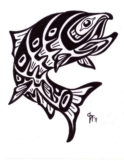 400x517 Salmon Clipart Northwest Native American Art