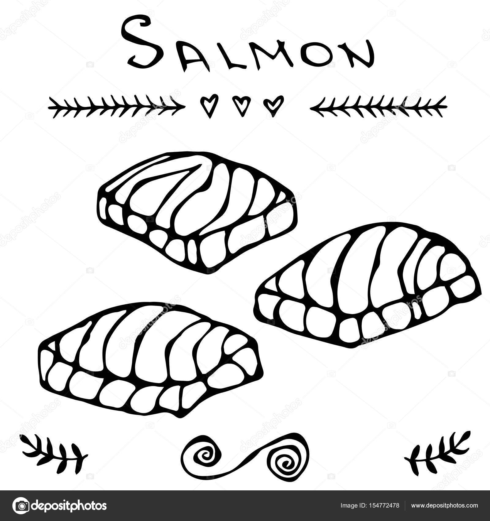 1600x1700 Steak Of Red Fish Salmon For Seafood Menu. Ink Vector Illustration
