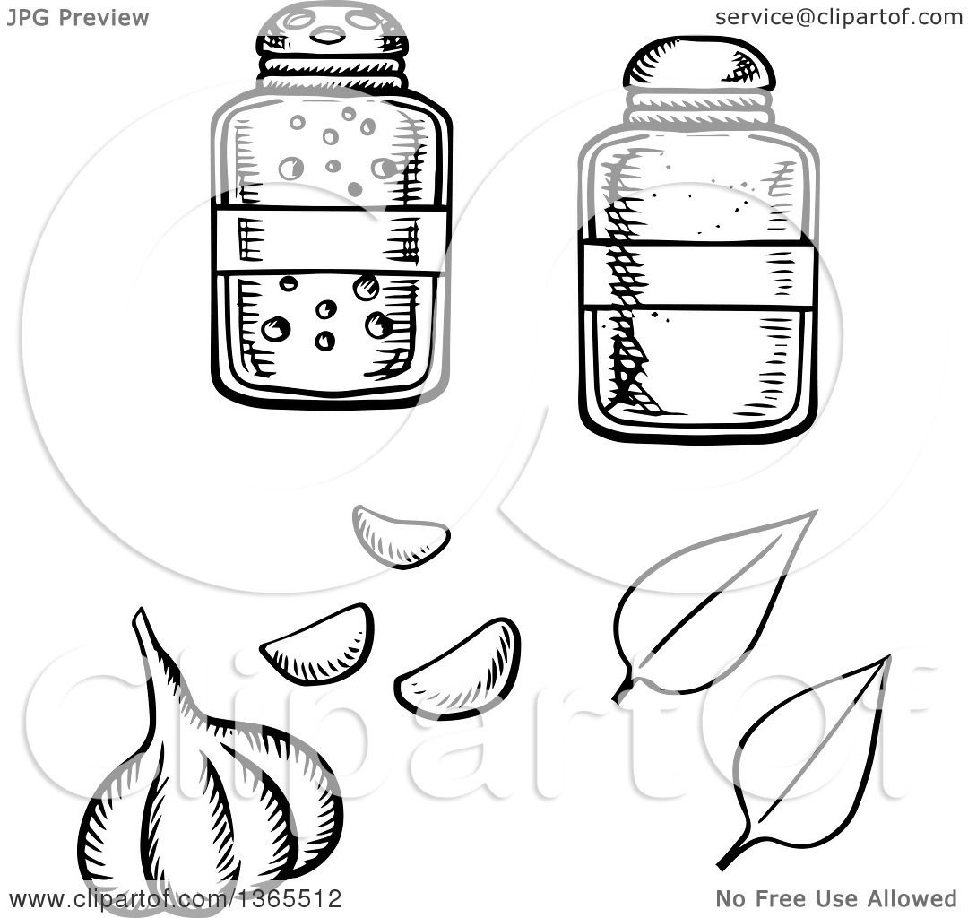 1080x1024 Clipart Of A Black And White Sketched Garlic Bulb, Basil Leaves