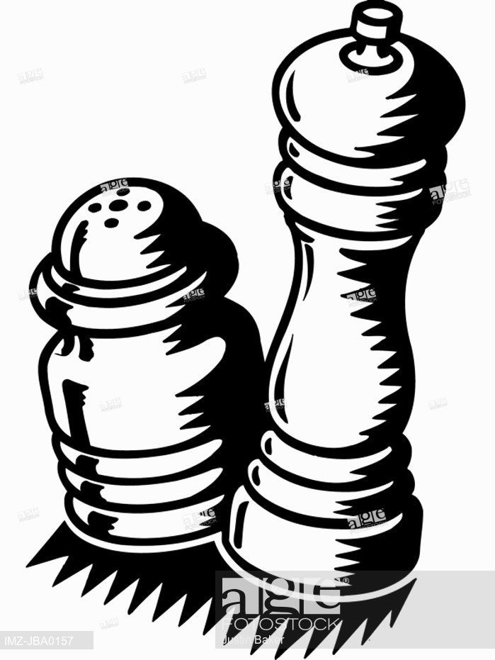699x931 A Black And White Illustration Of Wooden Salt And Pepper Shakers