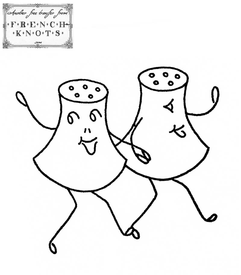 800x911 Salt And Pepper Shakers Embroidery Transfer Pattern