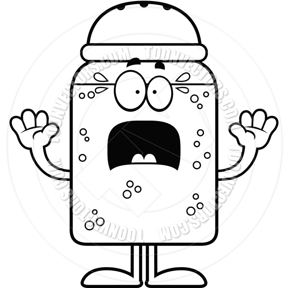 940x940 Cartoon Salt Or Pepper Shaker Scared (Black And White Line Art) By