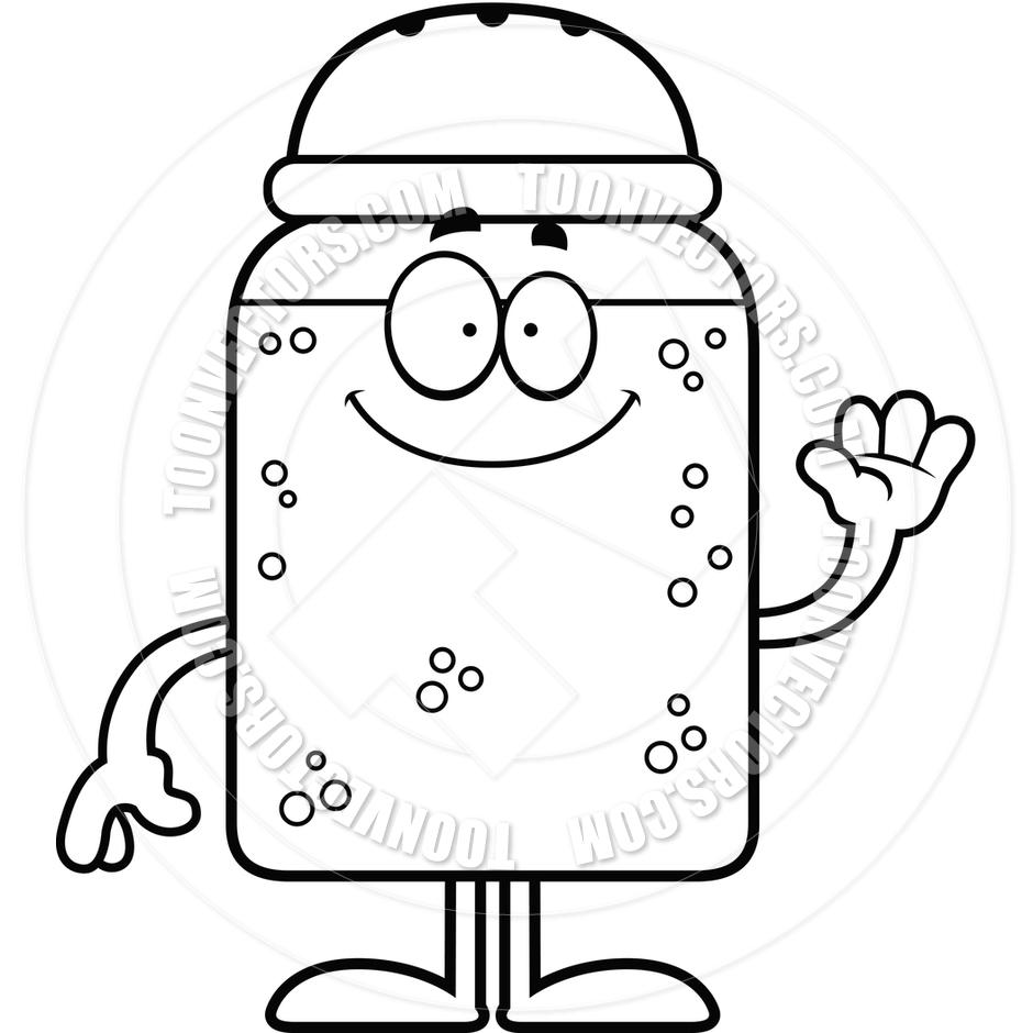 940x940 Cartoon Salt Or Pepper Shaker Waving (Black And White Line Art) By