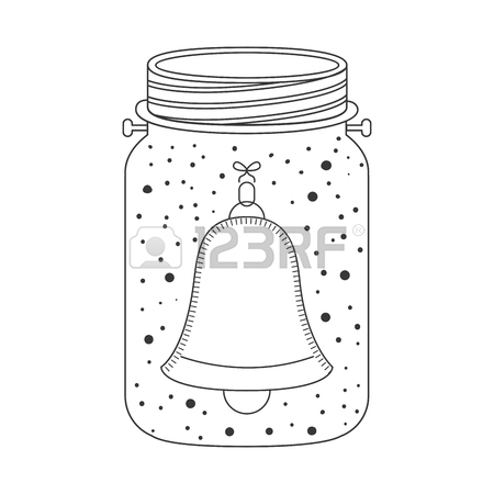 450x450 Mason Jar With Christmas Sock Decoration Inside. Sketch And Draw
