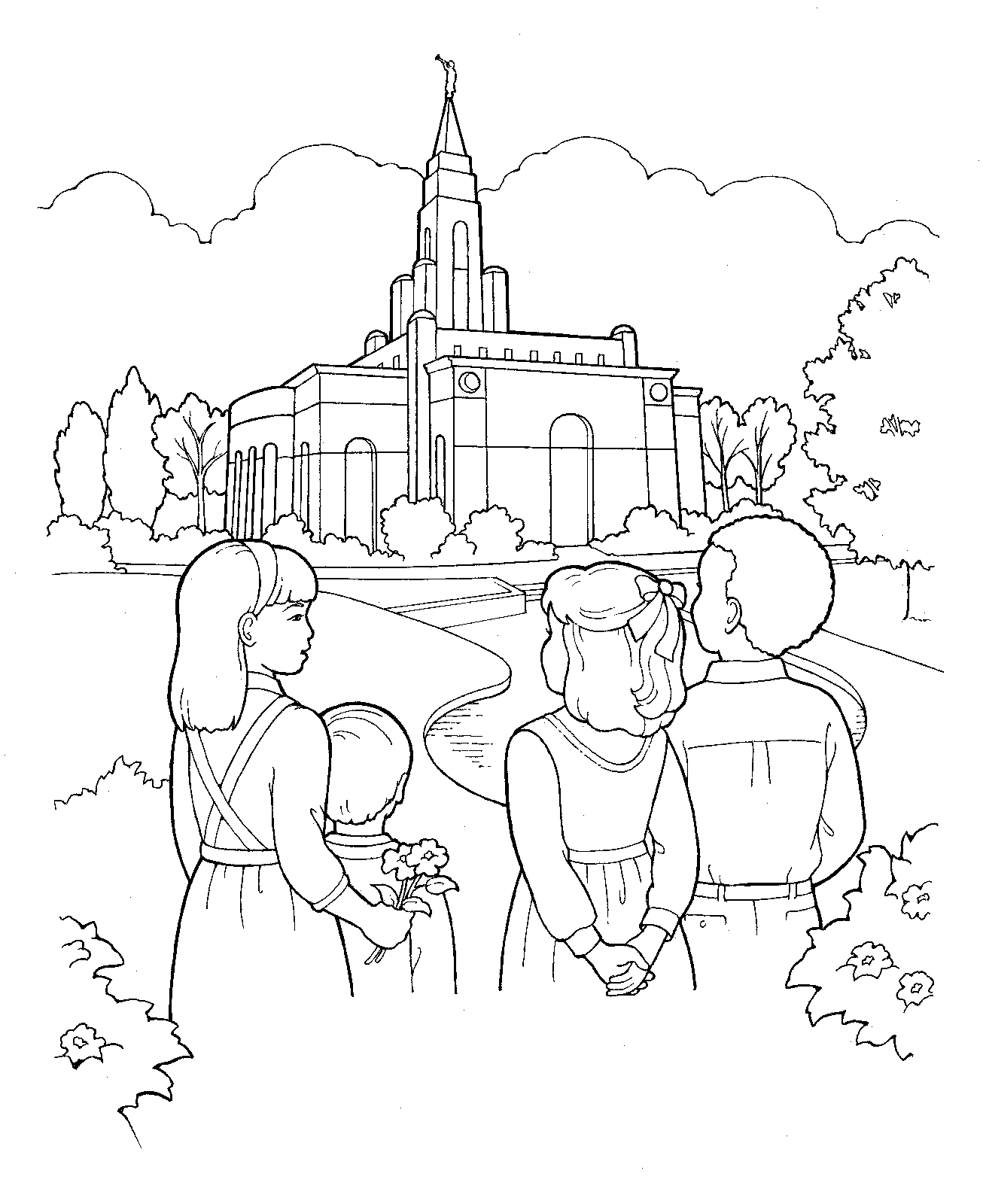 1306x1600 Children Visit The Temple. Lds Primary Coloring Page. Other