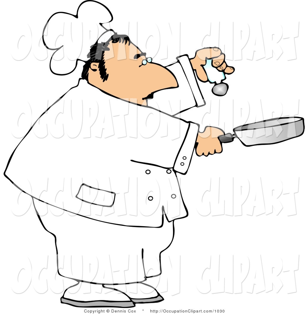 1024x1044 Clip Art Of A Male Chef Holding A Salt Shaker And A Skillet While