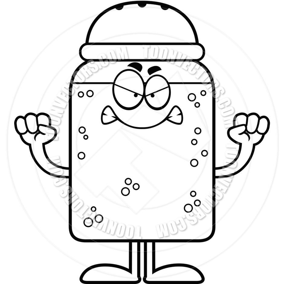 940x940 Cartoon Salt Or Pepper Shaker Angry (Black And White Line Art) By