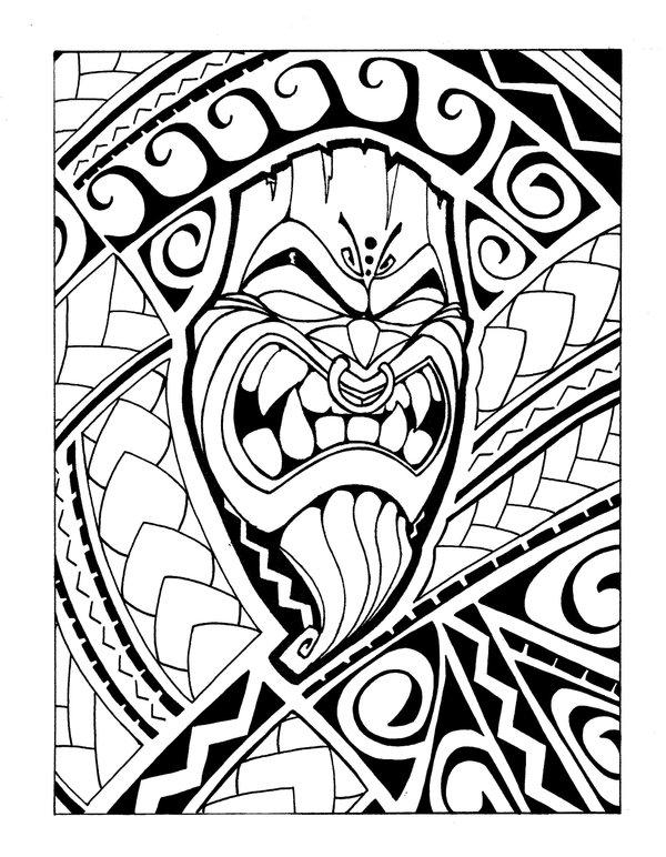 600x772 Samoan Tiki b+w by Mr Tasi on DeviantArt