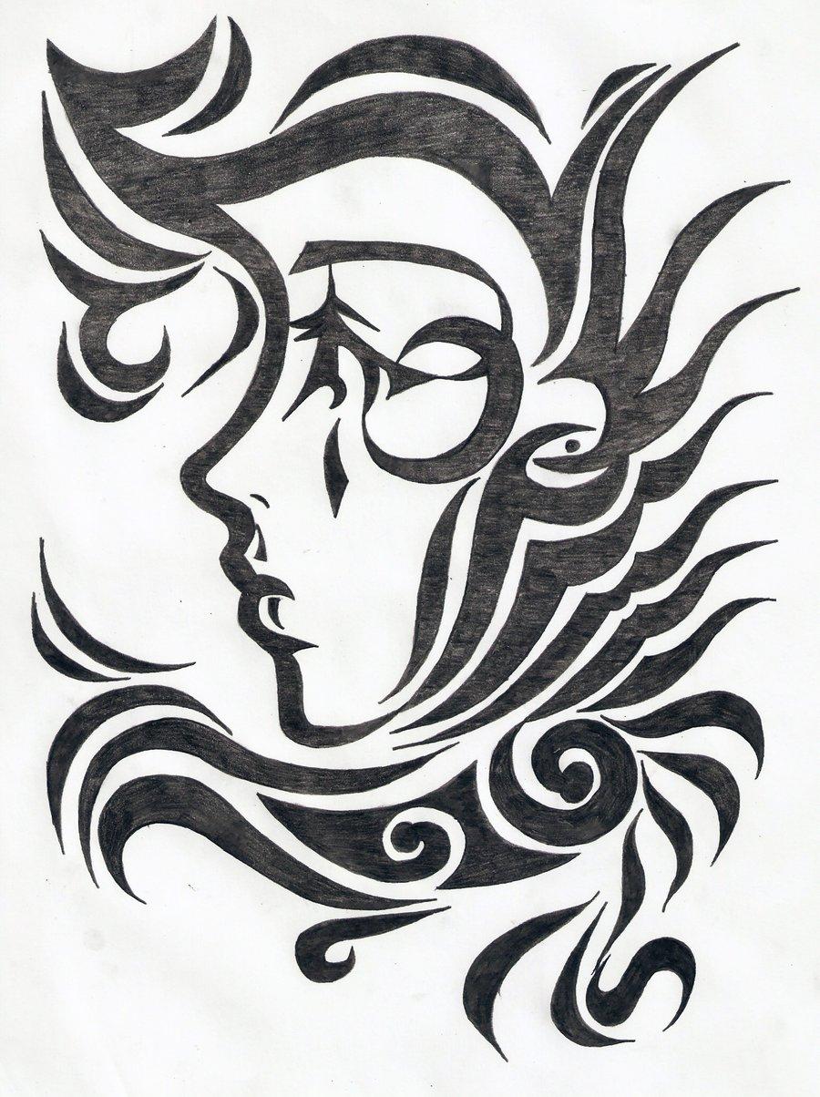 900x1204 Tribal Design Drawing Tribal Female Face Tattoo Design