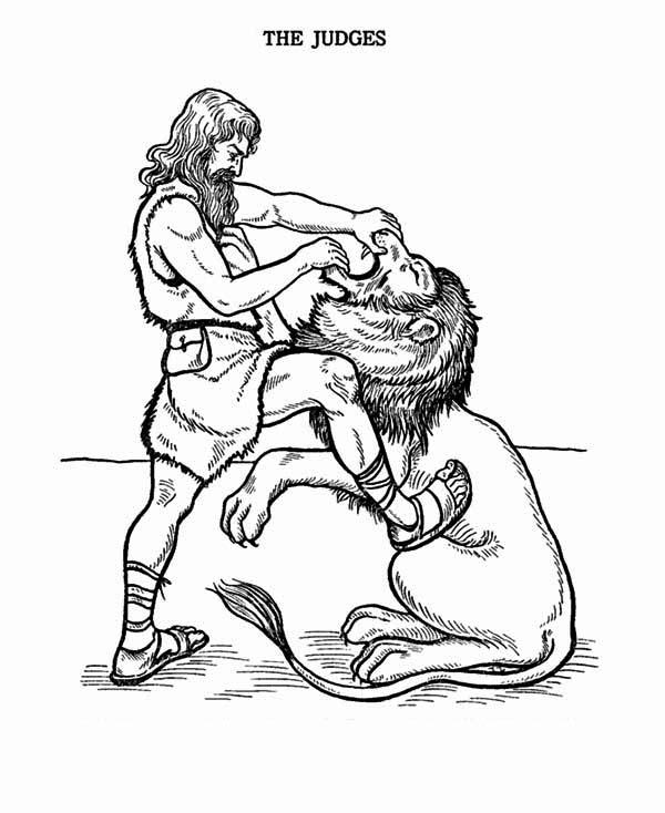 600x734 Samson Fight With Lion Coloring Page Color Luna