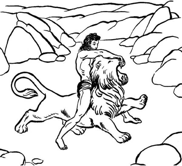 600x548 Samson Killing A Lion Coloring Page Color Luna