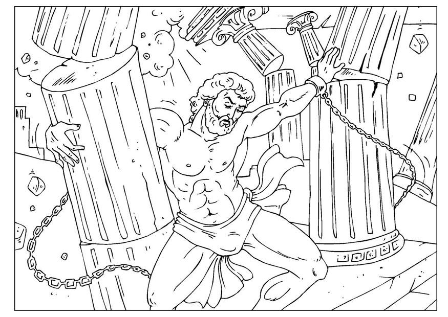 875x620 Coloring Page Samson