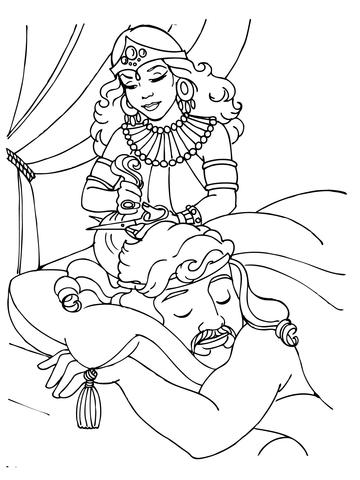 360x480 Delilah Cutting Samson's Hair Coloring Page Free Printable