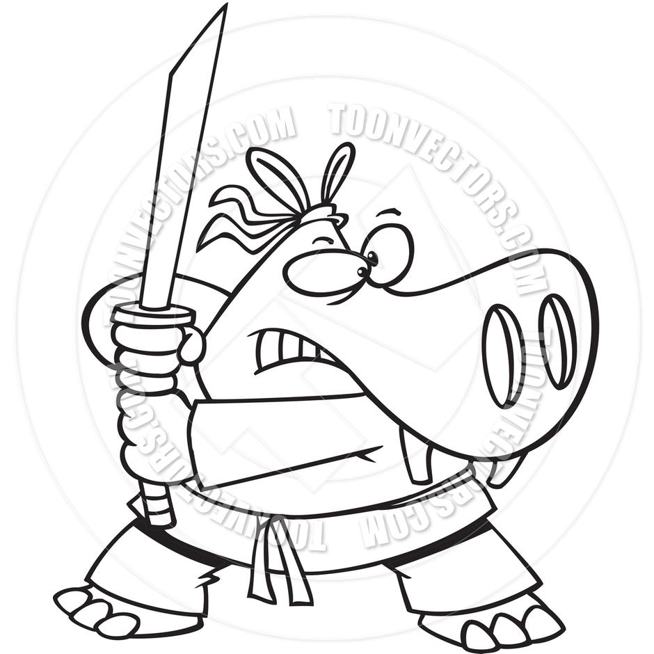 940x940 Cartoon Samurai Hippo (Black And White Line Art) By Ron Leishman