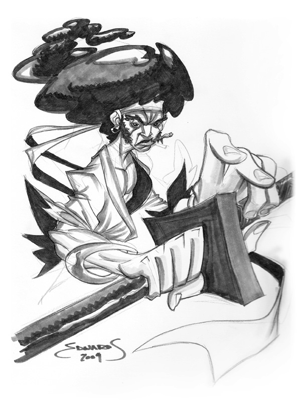 612x831 Afro Samurai Comission By Basicnoir