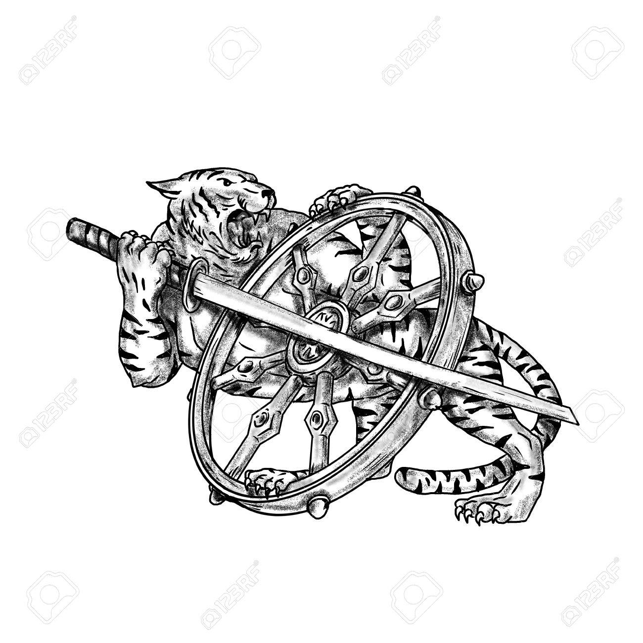 1300x1300 Tattoo Style Illustration Of A Tiger With Katana Samurai Sword