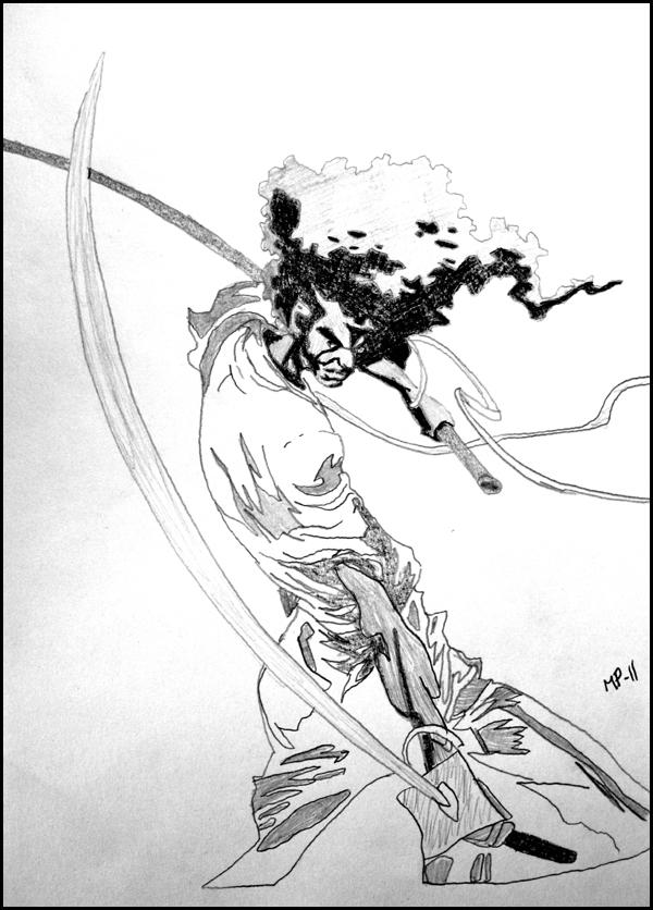 600x836 Afro Samurai Sketch By Jorte
