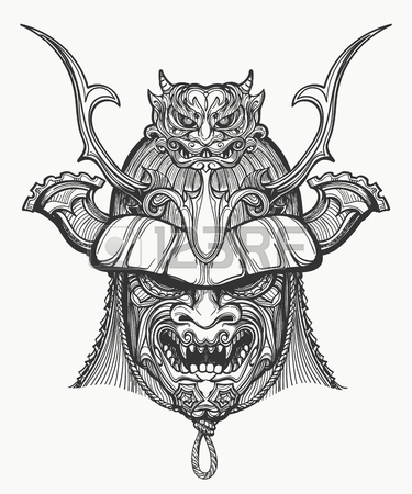 375x450 Drawing Samurai Face Mask Japanese Warrior Image Vector