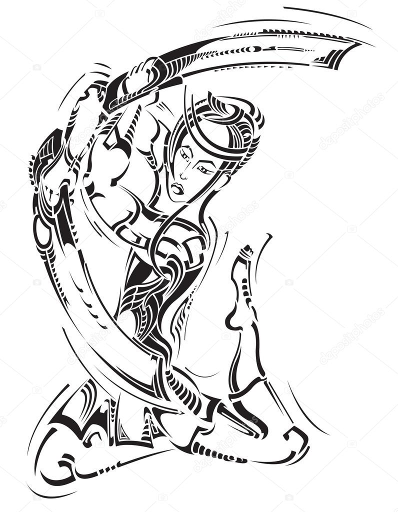 796x1024 Decorative Tattoo With Samurai And Sword Butterfly Stock Vector