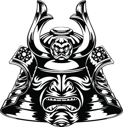 409x421 Samurai Mask Stock Vectors