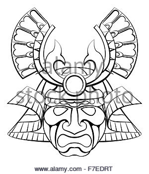 300x350 Samurai Mask Helmet Warrior Design Icon Stock Vector Art