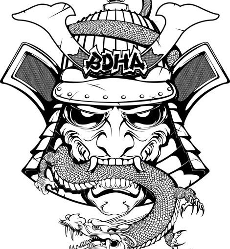 Samurai Mask Drawing