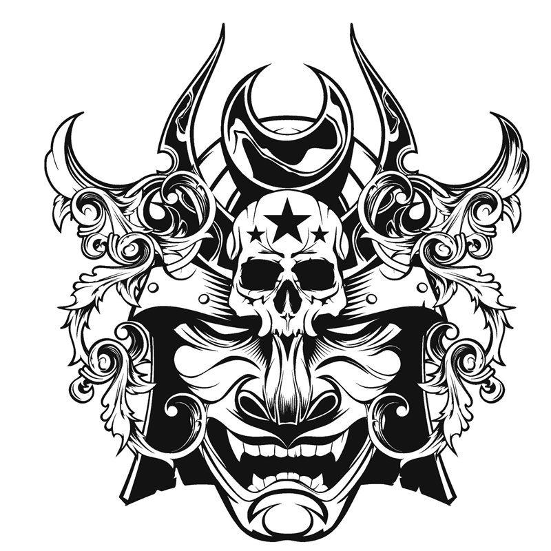 800x800 kendo sticker mask samurai decal japan ninja poster vinyl art wall