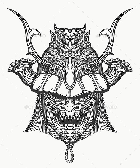 590x708 Japan Samurai Mask By Olena1983 Graphicriver