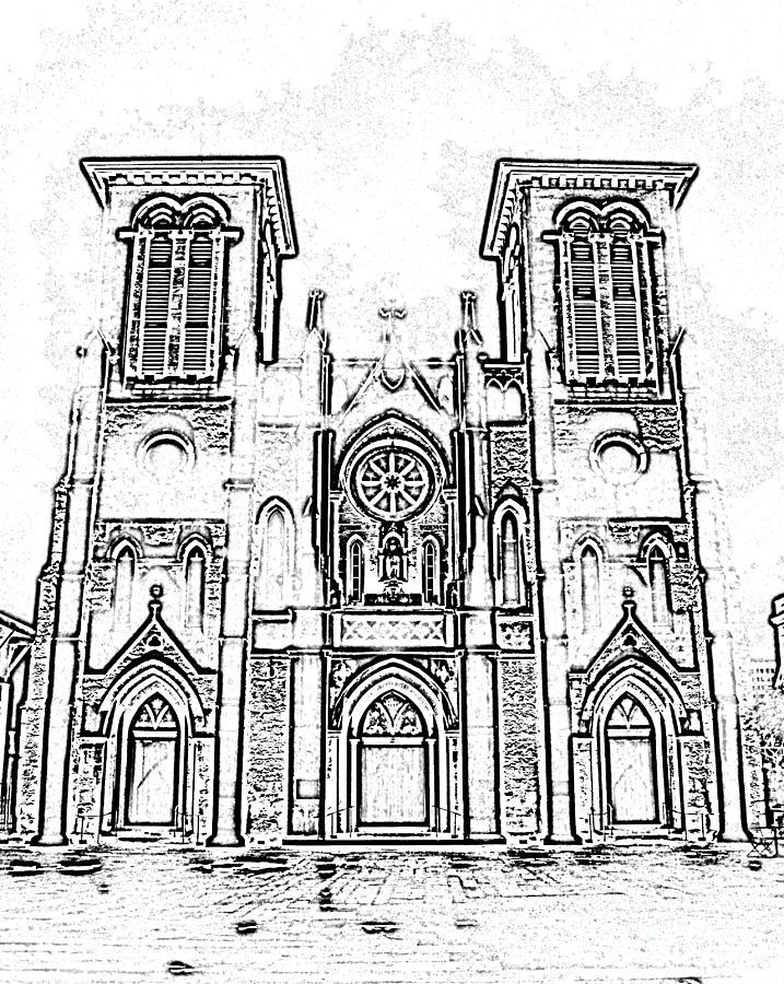717x900 Cathedral Of San Fernando At Night In San Antonio Texas Black
