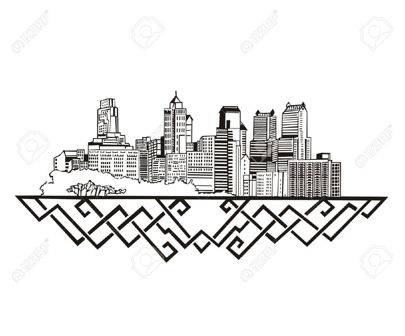 1300x1079 Philadelphia, Pa Skyline. Black And White Royalty Free Cliparts