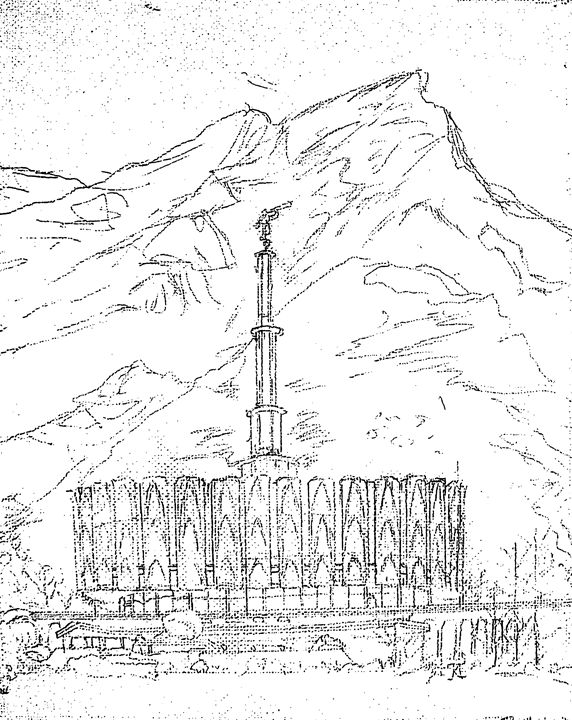 572x720 Provo Utah Lds Temple Sketch