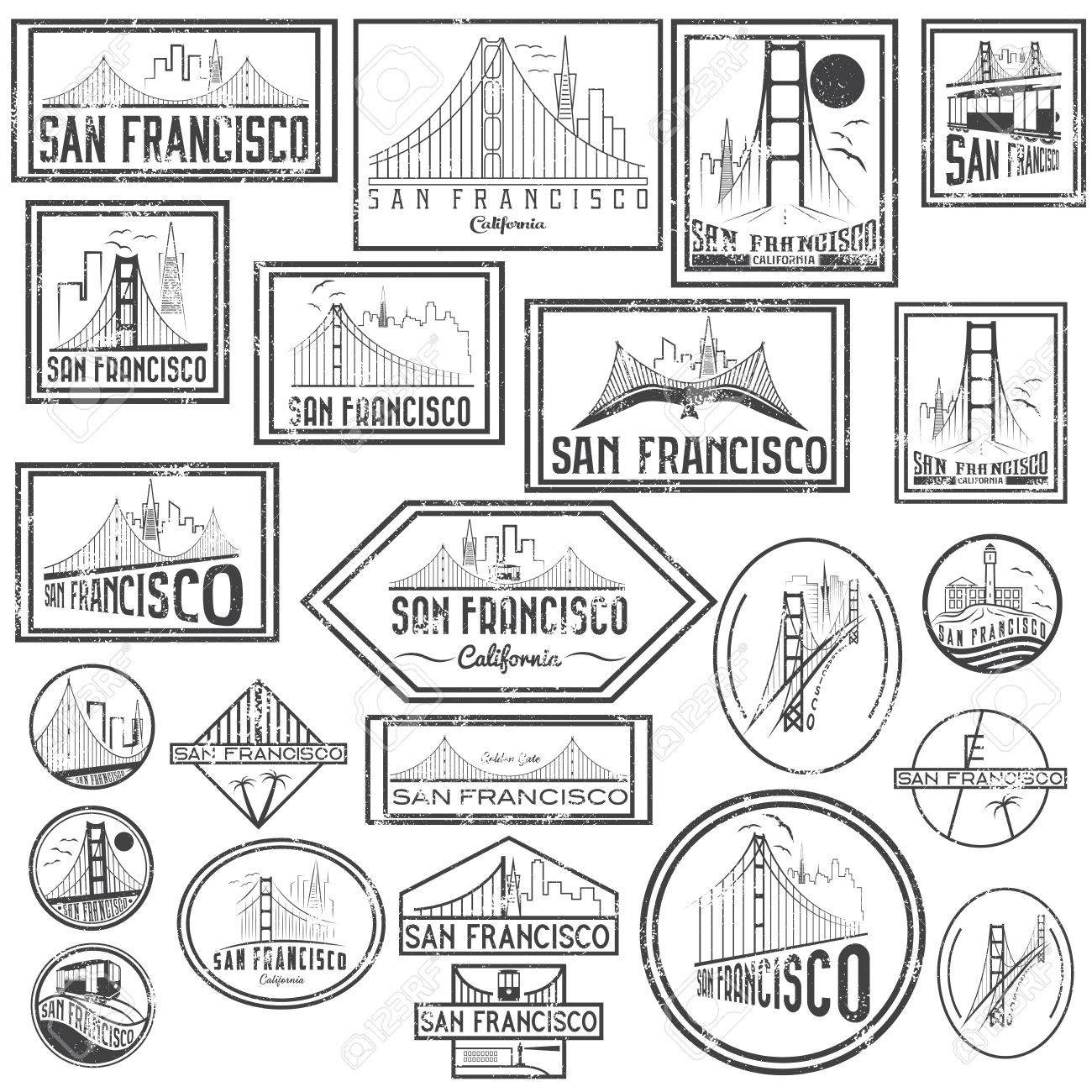 1300x1300 Set Grunge Badges With San Francisco Skyline. Vector Royalty Free