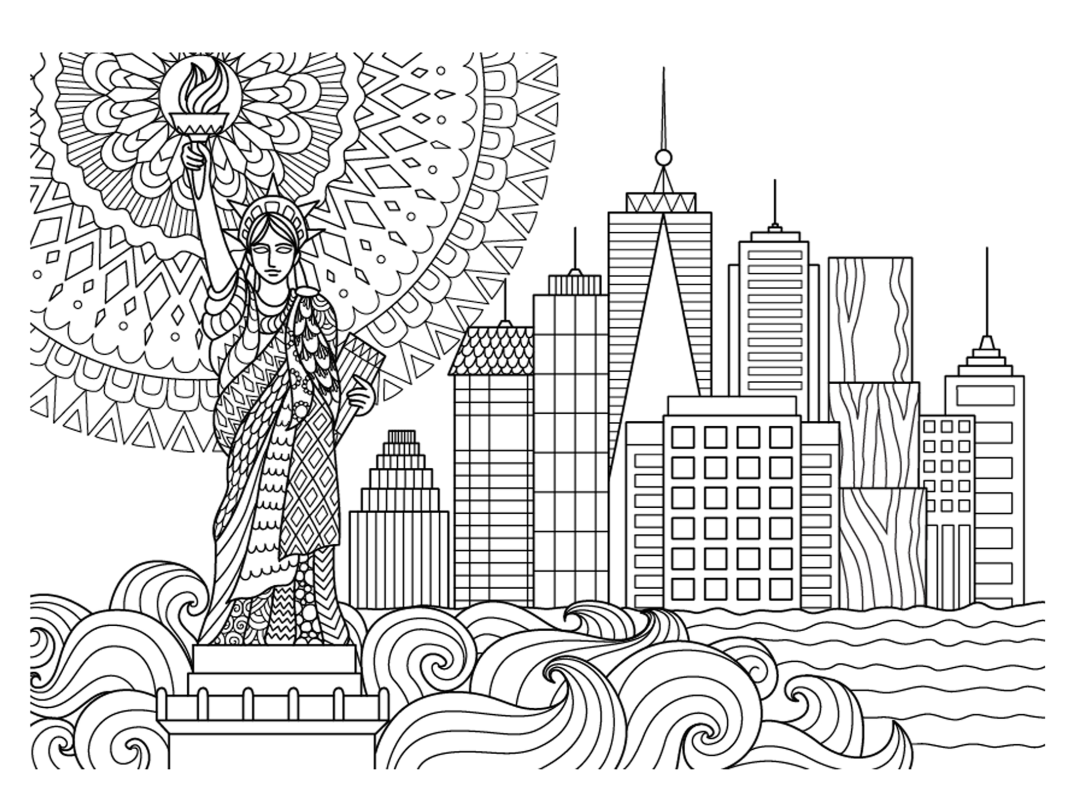 2194x1638 Cityscape Coloring Page