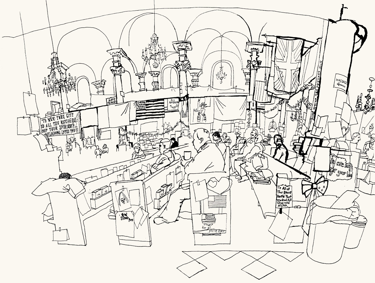 1200x906 Lucinda Rogers Ground Zero Ink Line Drawing September 11 New York