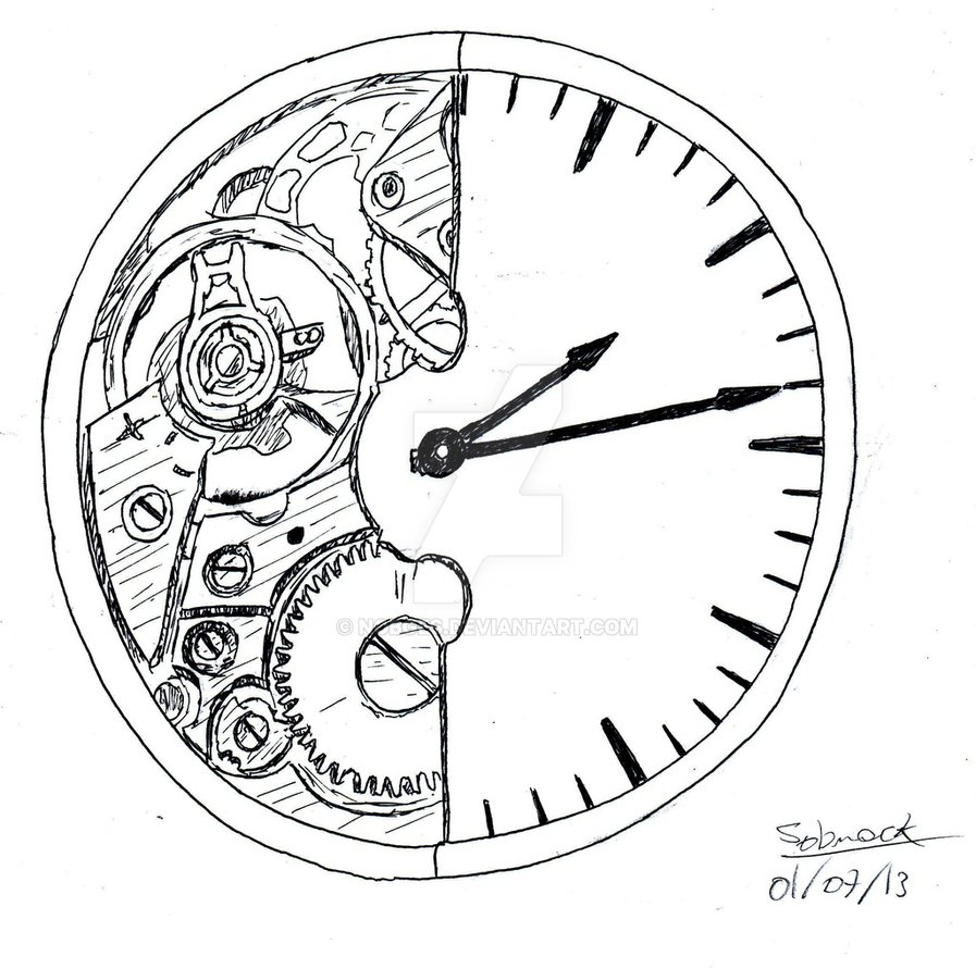 897x891 Broken Clock Drawing Broken Clocknobges