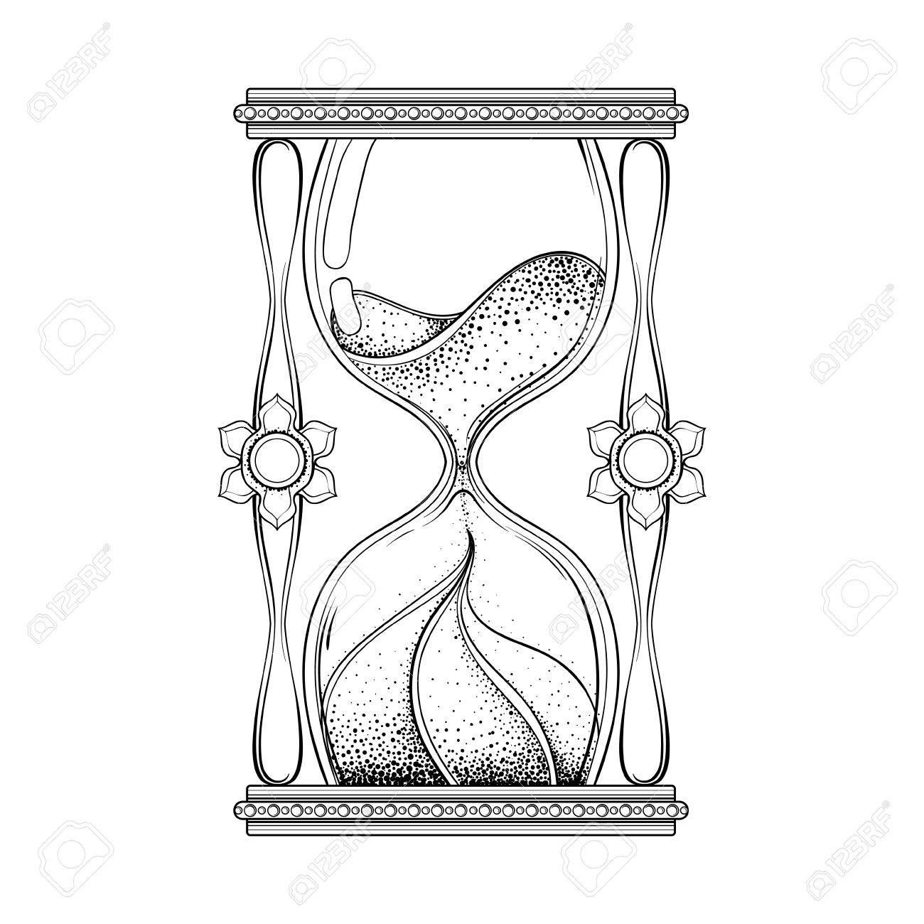 1300x1300 Vintage Antique Wizard Hourglass In Dotwork Tattoo Design
