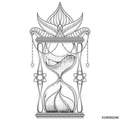 500x500 Vintage Sand Timer In Dotwork Tattoo Design For Alchemist T Shi