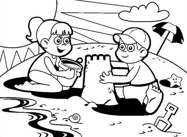 sand castle coloring pages kids - photo#43