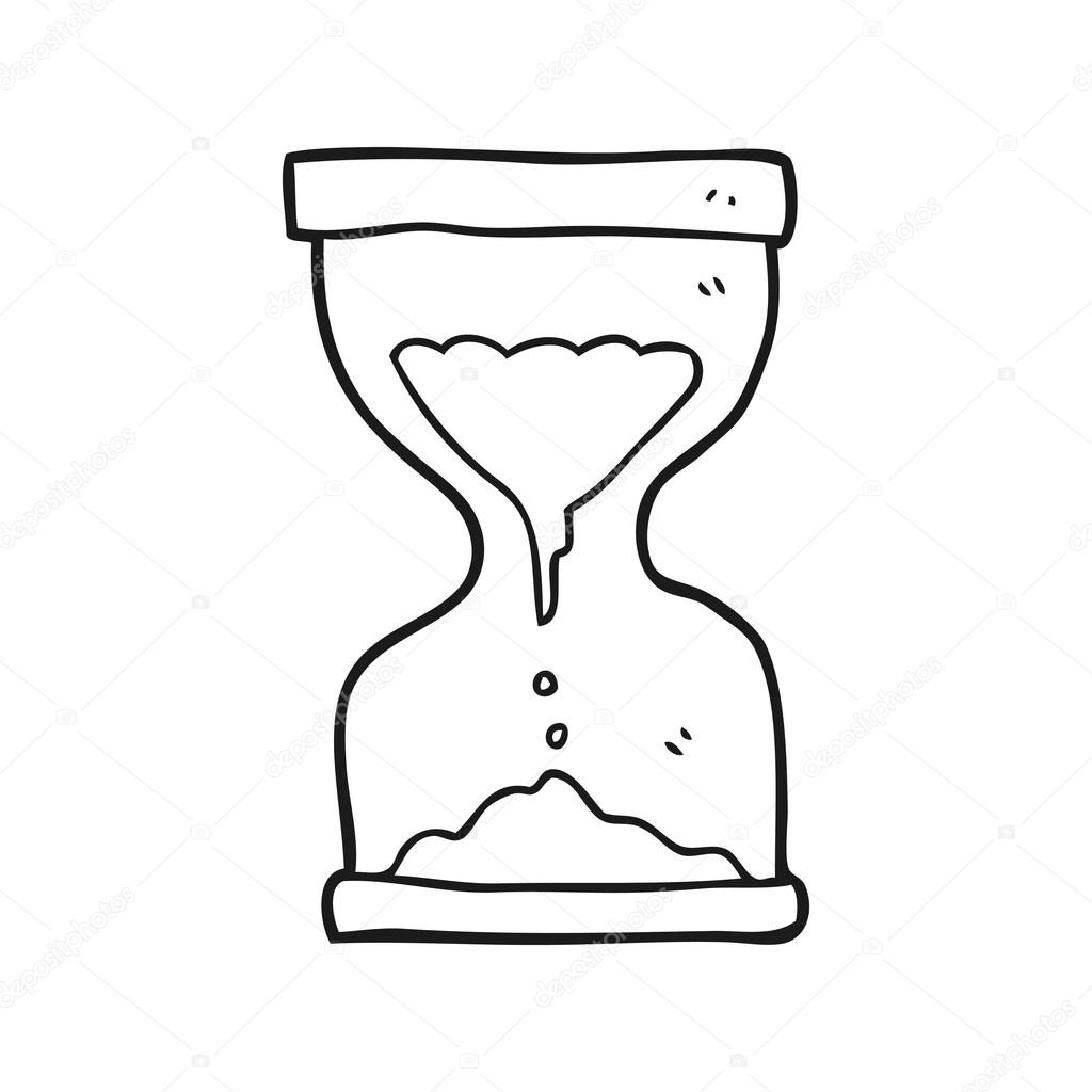 1024x1024 Black And White Cartoon Sand Timer Hourglass Stock Vector