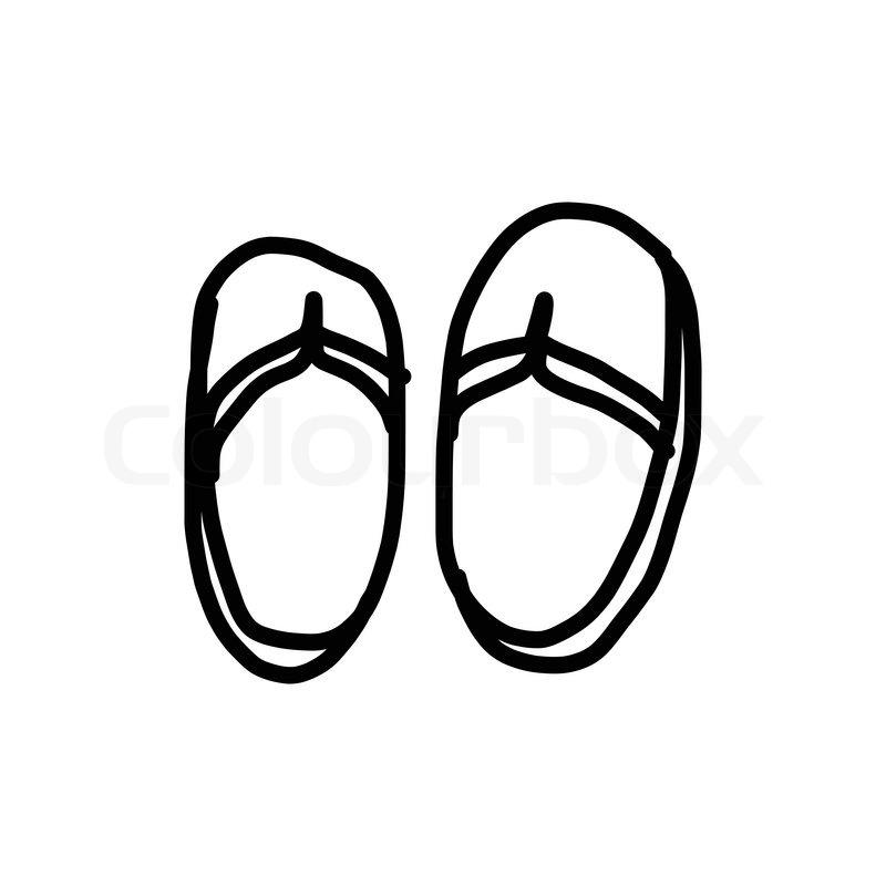 800x800 Hand Drawing Sandals Cartoon Summer Concept Stock Vector Colourbox