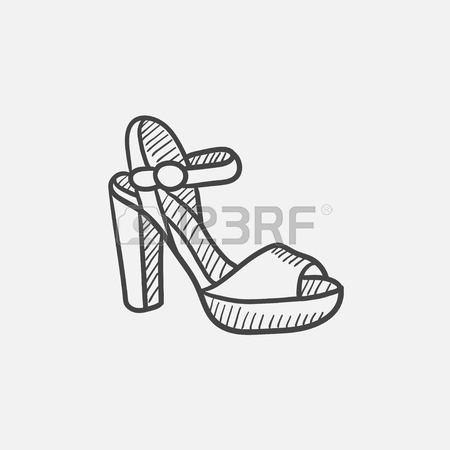 450x450 Sandal Vector Sketch Icon Isolated On Background. Hand Drawn