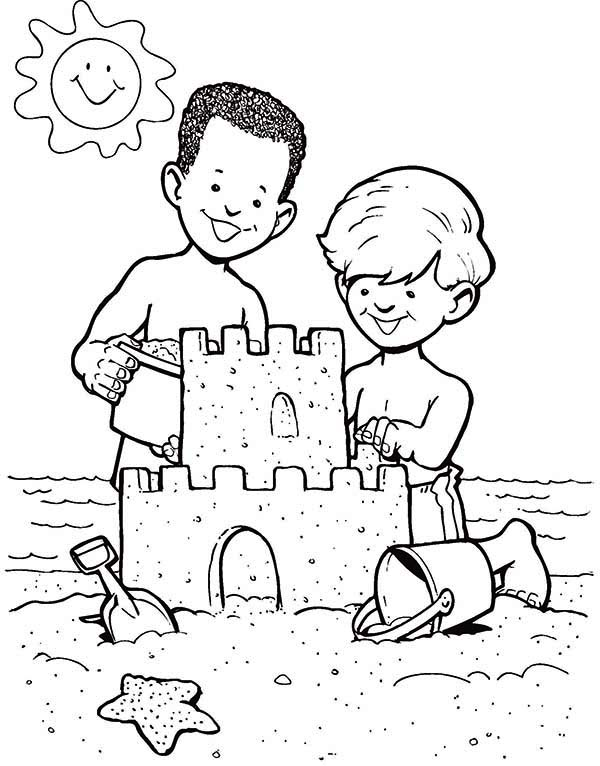 600x766 Sand Castle Create By Two Boys Coloring Page Sand Castle Create