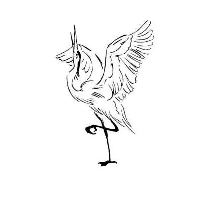 430x430 Dancing Sandhill Crane Mounted Rubber Stamp, Long Legged Bird