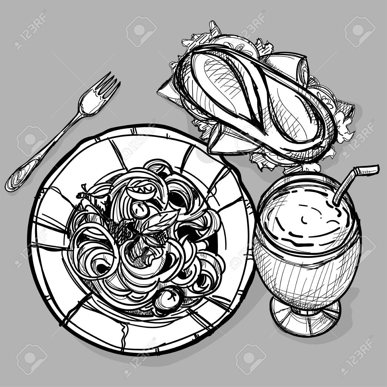 1300x1300 Food Sandwich Drink Spaghetti Set Drawing Graphic Illustrate