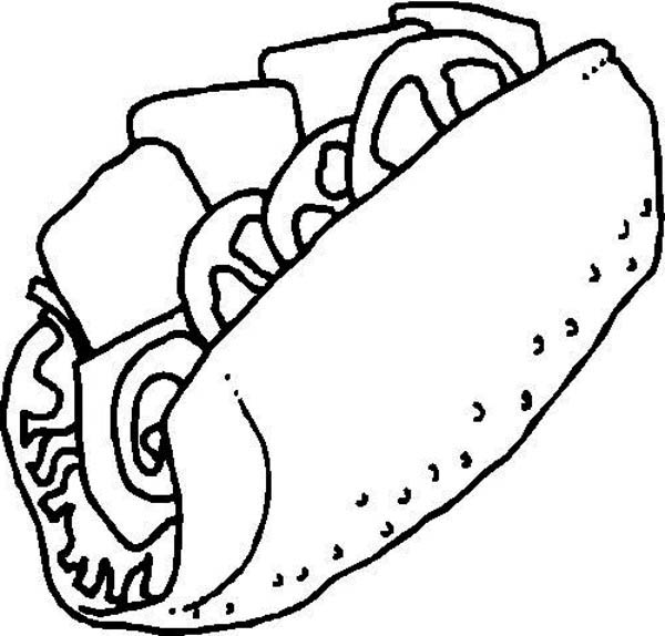 600x574 Junk Food Sandwich Coloring Page