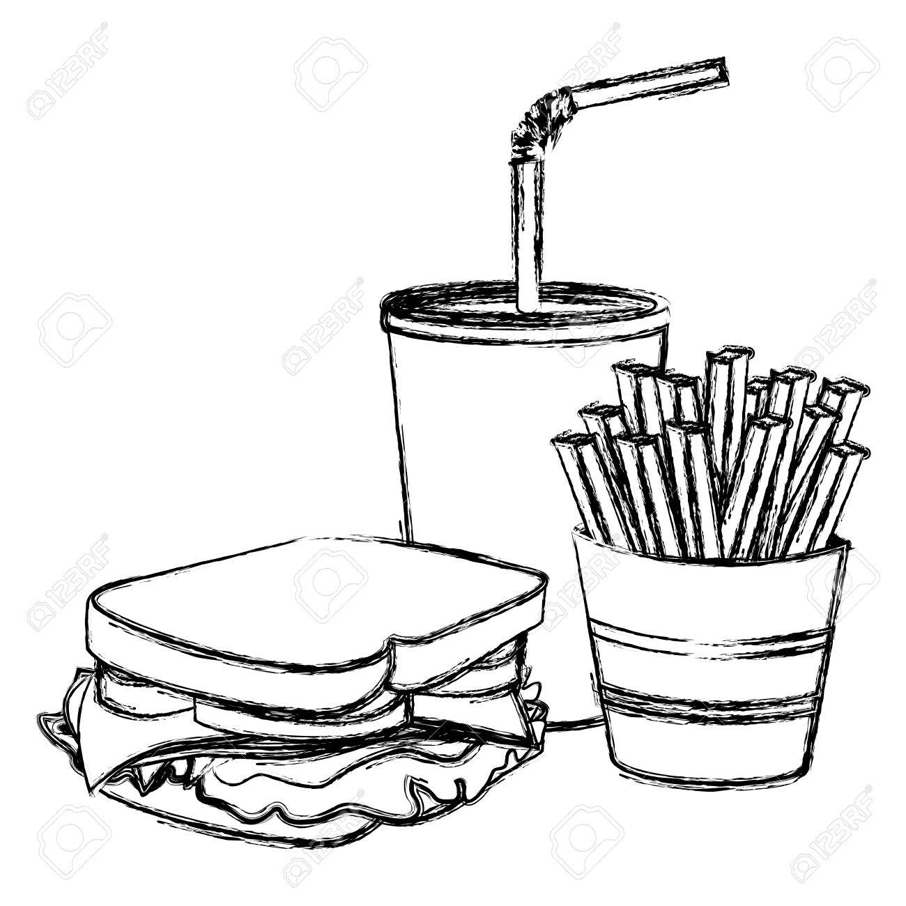 1300x1300 Monochrome Sketch Of Sandwich With French Fries And Soda Vector