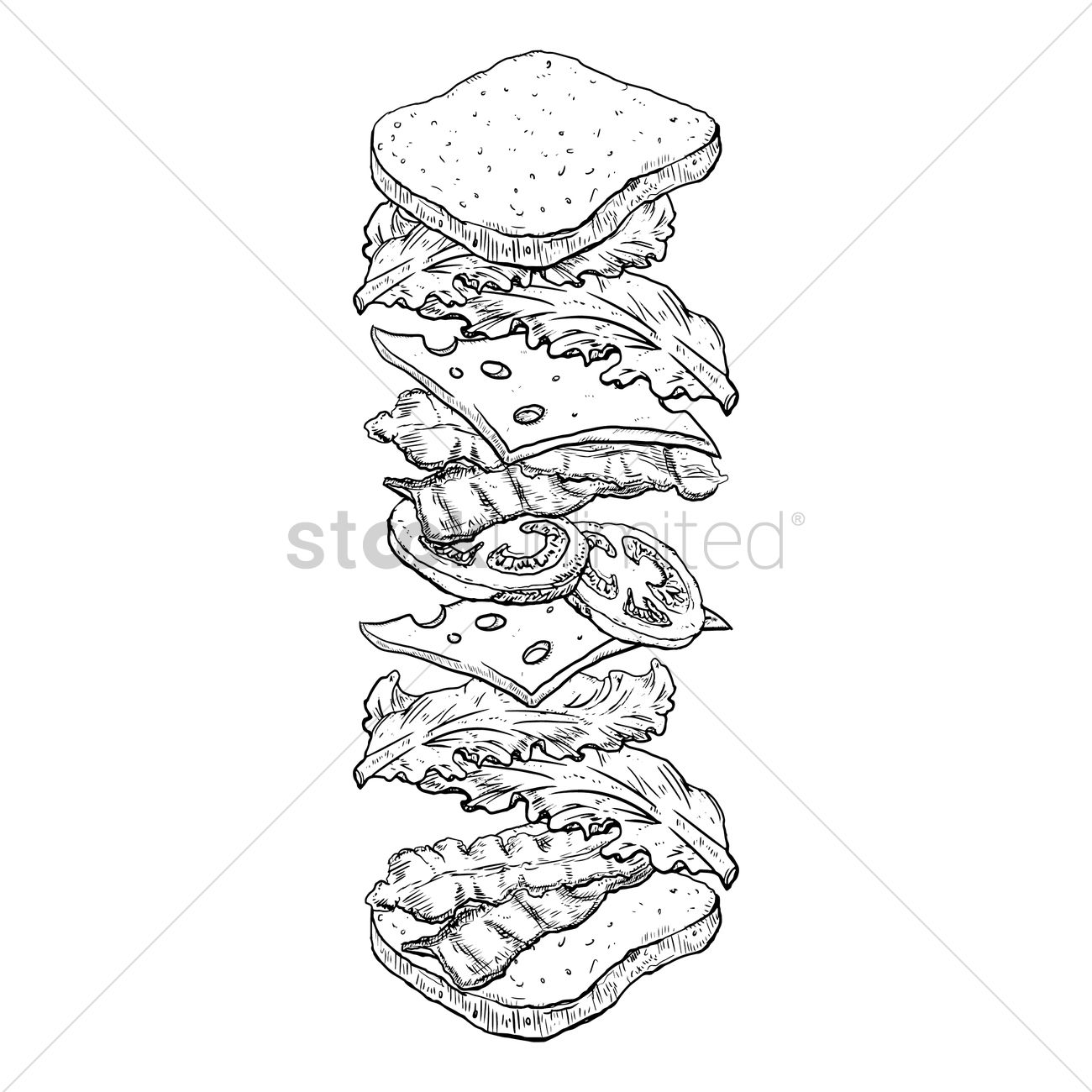 1300x1300 Tossed Sandwich Vector Image