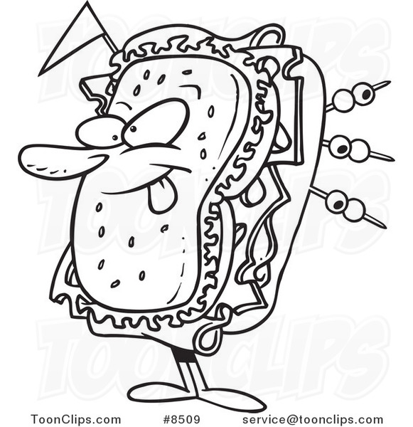 581x600 Cartoon Black And White Line Drawing Of A Sandwich Character